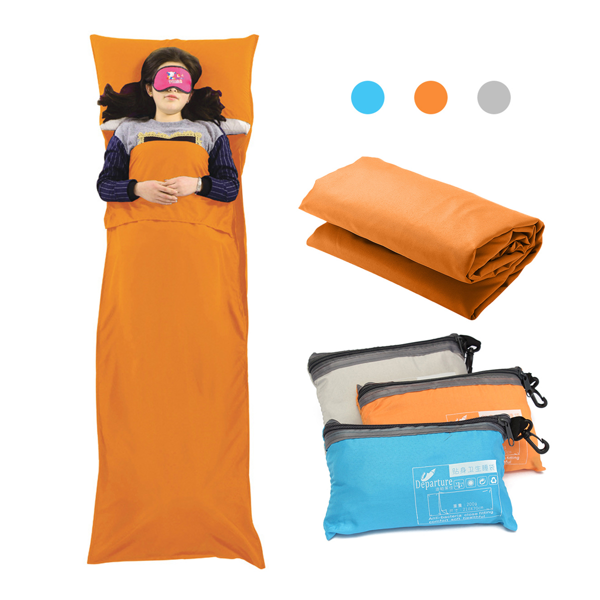 Travel Camping Sheet, Envelope Sleeping Bag Antimicrobial Soft Liner - Compact Sleep Sheet with Lightweight Carry Bag
