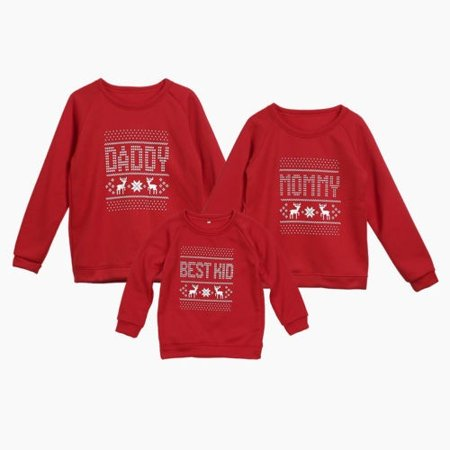 Christmas Family Matching Tops Women Men Kids Blouse Clothes Sweater Xmas Jumper - Family Christmas Clothes