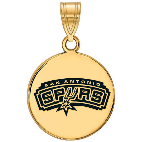 LogoArt NBA San Antonio Spurs 14kt Gold-Plated Sterling Silver Medium Enameled Disc Pendant