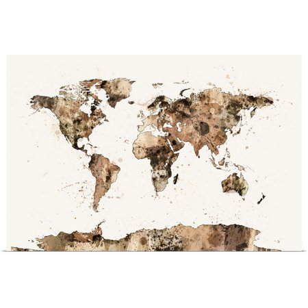 Watercolor Map Of The World (Great BIG Canvas   Rolled Michael Tompsett Poster Print entitled Map of the World Map Sepia)