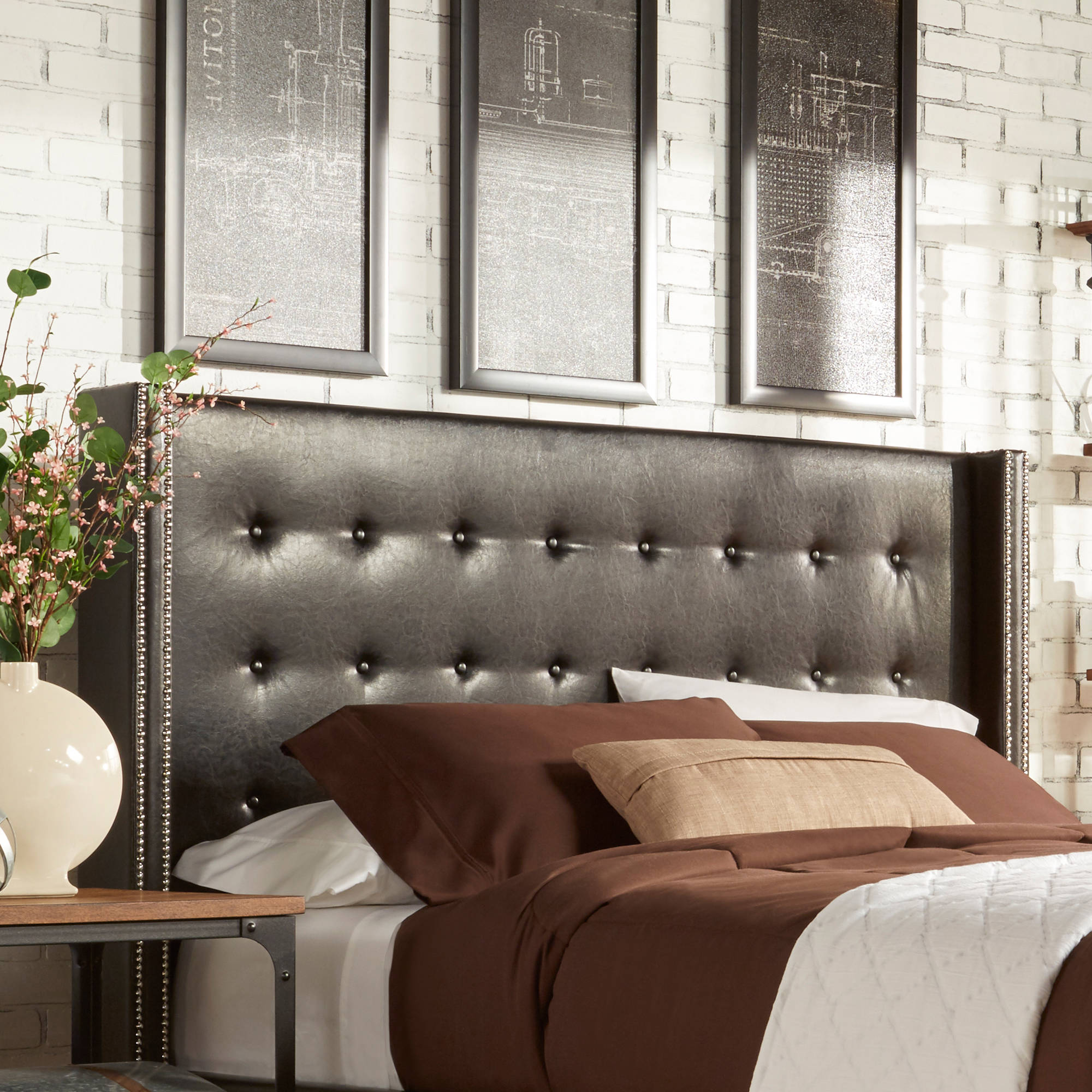 in leather bed amazing sparkley platform headboard with elegant from inside king home sophisticated tufted black cool