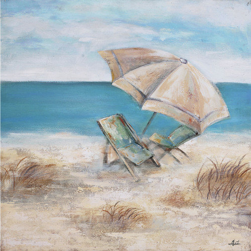 Yosemite Home Decor Umbrella and Beach Chair Painting on Wrapped Canvas