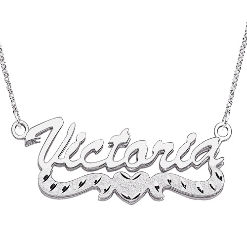 """Personalized Large 3D Script Name with Diamond-Cut Heart Tail Sterling Silver Necklace, 18"""""""