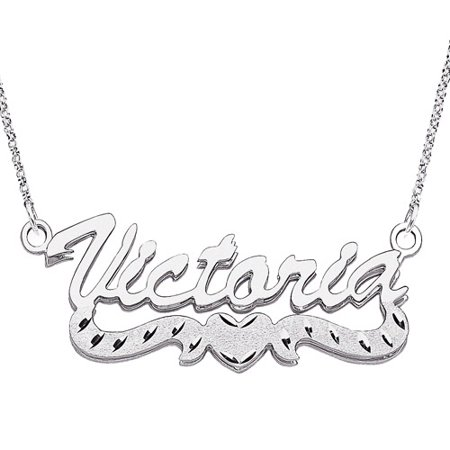 Personalized Large 3D Script Name With Diamond Cut Heart Tail Sterling Silver Necklace  18