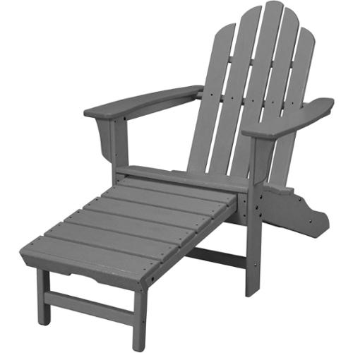Hanover  Outdoor HVLNA15GY Grey All-weather Contoured Adirondack Chair with Hideaway Ottoman