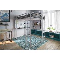 DHP Abode Full Metal Loft Bed over Workstation Desk, Multiple Colors - Silver