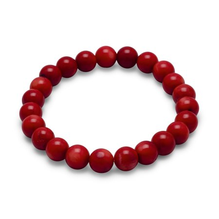 Red Coral 8-mm Beaded Stretch Bracelet