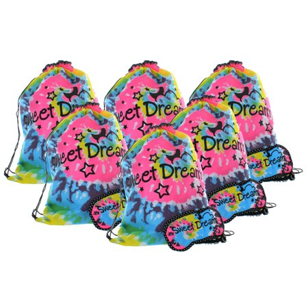 Girl Mask - Lot of 6 Girls Sleepover Backpack With Eye Mask Tie Dye Fashion Party Favors