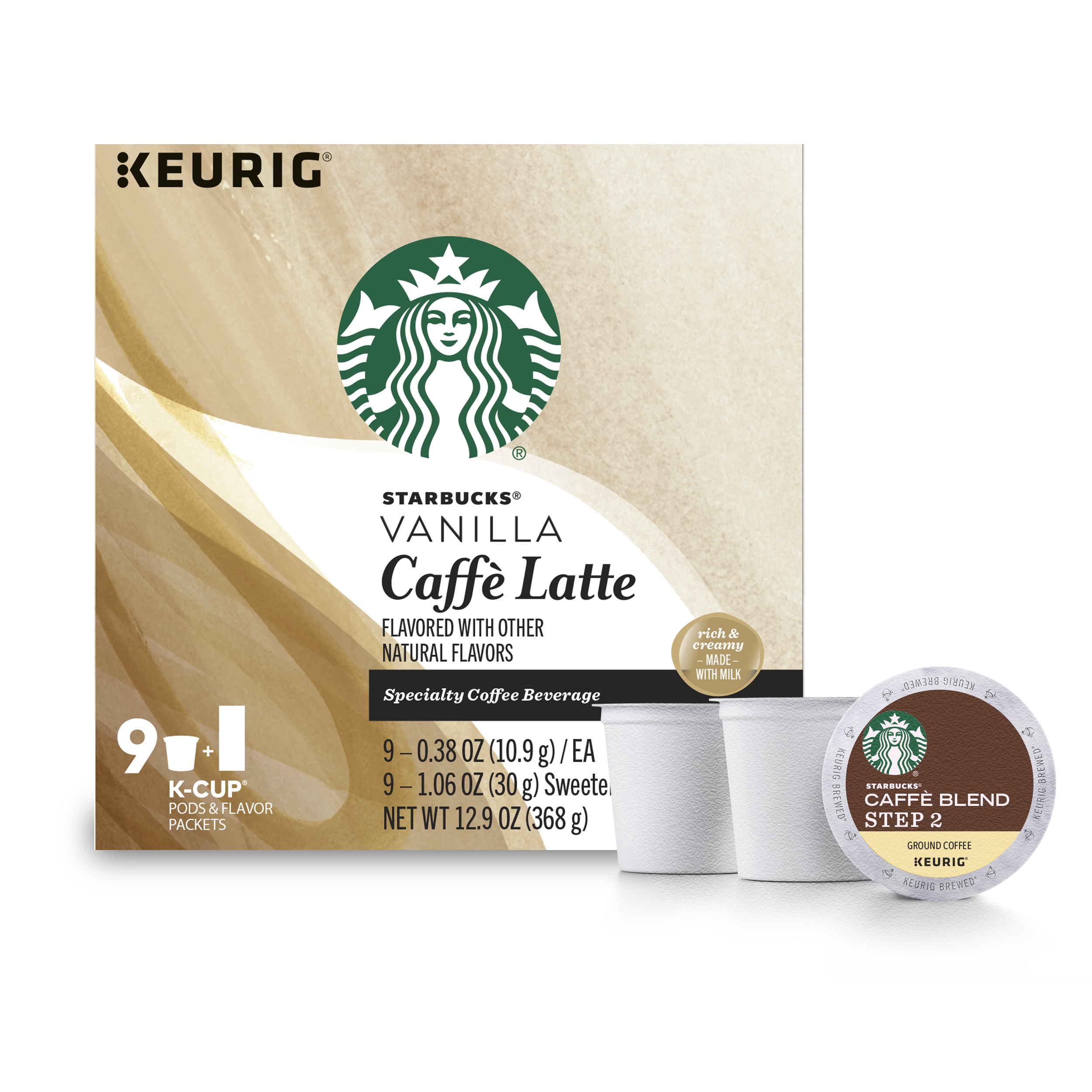 Starbucks Vanilla Caffe Latte Medium Roast Single Cup Coffee for Keurig Brewers, 1 Box of 9 (9 Total K-Cup Pods)