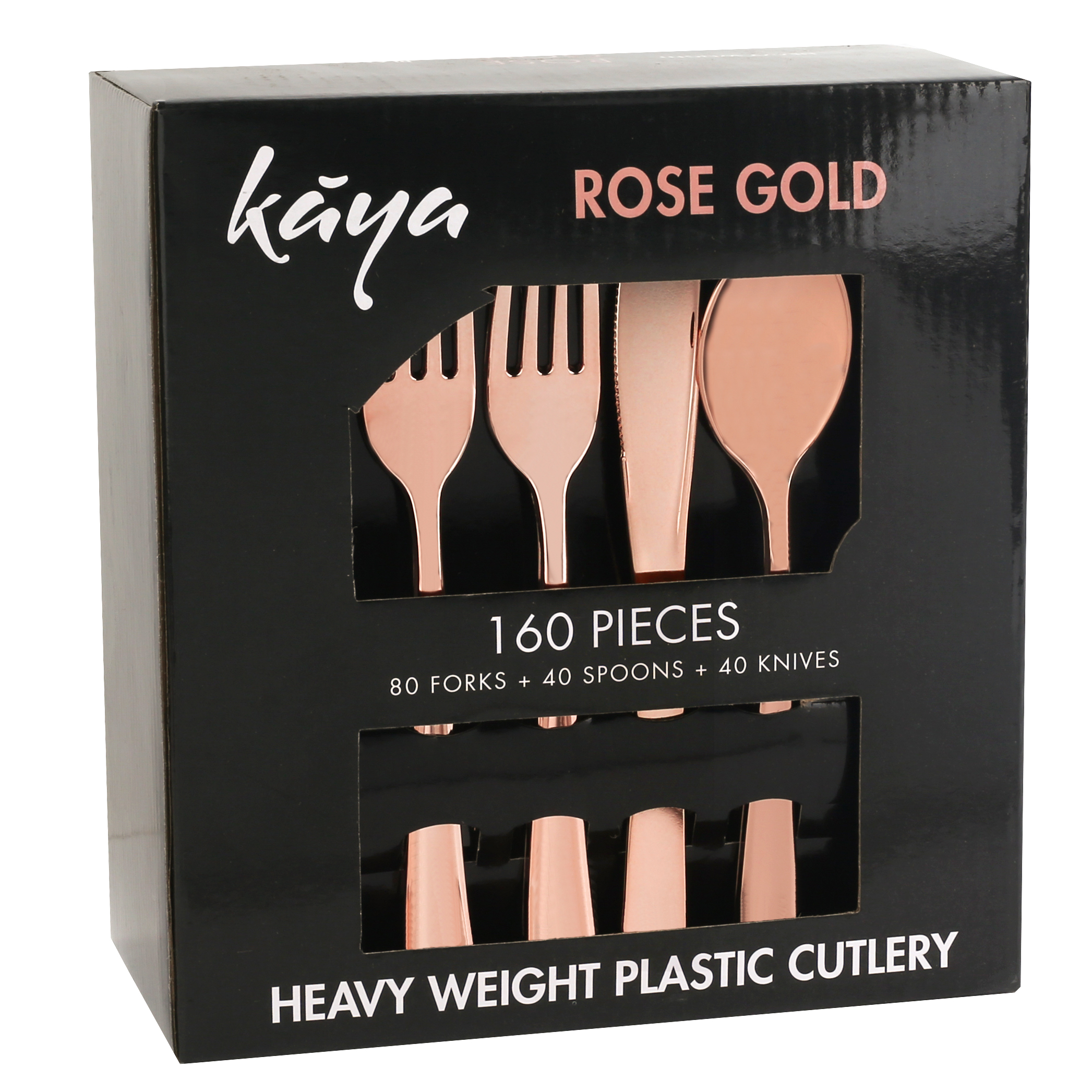 Kaya Collection - Disposable Plastic Rose Gold Silverware Cutlery, Shiny Metallic Flatware 80 Forks, 40 Knives and 40 Spoons (160 Pc)