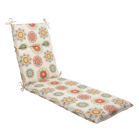 72 5 retro floral medallion outdoor patio chaise lounge cushion. Black Bedroom Furniture Sets. Home Design Ideas