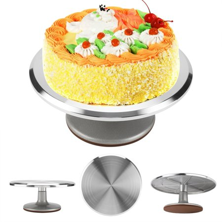 Anauto 12inch Aluminum Cake Turntable Rotating Revolving Decorating Stand Pastry Baking Decor Tool, Rotating Cake Stand, Aluminum Cake Decorating Stand