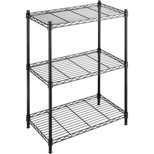Whitmor Supreme Small 3-Tier Shelves, Black