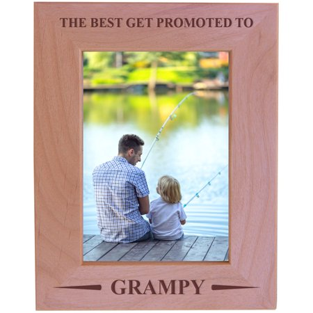 CustomGiftsNow The Best Get Promoted To Grampy - Wood Picture Frame - Fits 5x7 Inch Picture