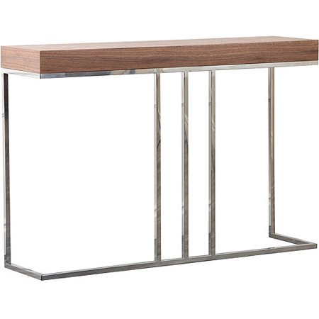 Abbyson living vienna solid wood metal sofa table walnut for Sofa table at walmart