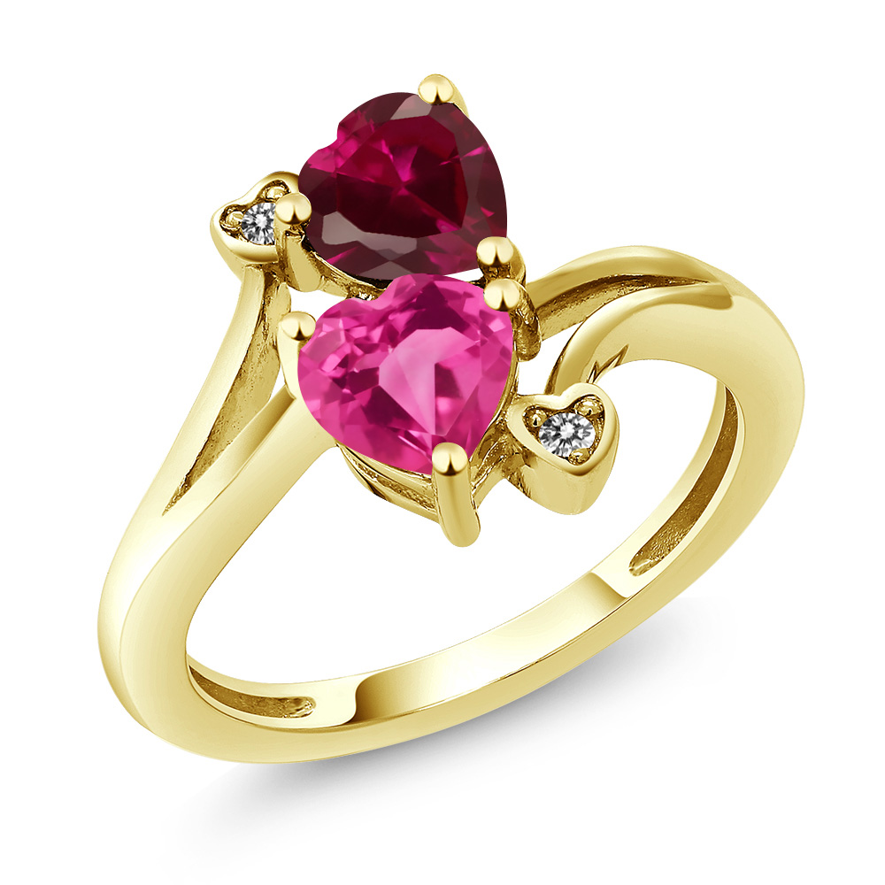 1.80 Ct Heart Shape Pink Created Sapphire Red Created Ruby 14K Yellow Gold Ring by