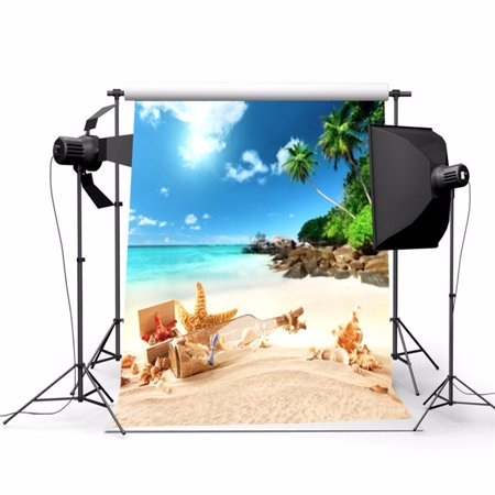 3x5ft Vinyl Fabric Summer Beach Scene Background Screen Photography Backdrop  Studio Photo Props