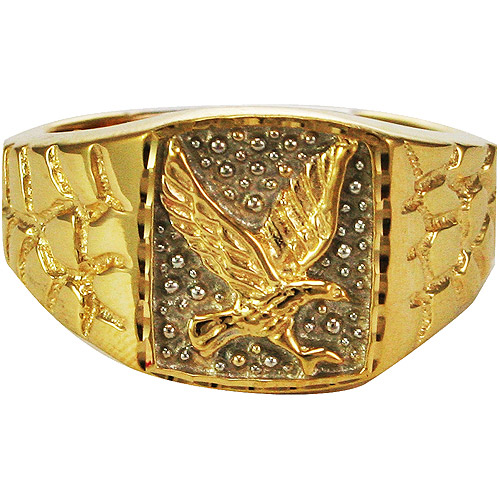 Men's Eagle Signet Ring in 14kt Gold over Sterling Silver
