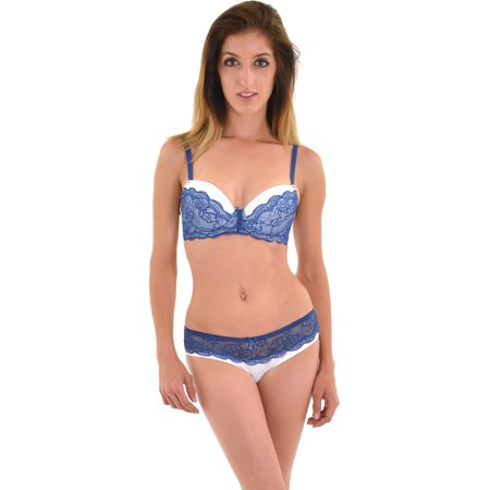 Juniors White Bra Navy Blue Lace Trim Push Up Bra Hipster Panty 2 Piece Set