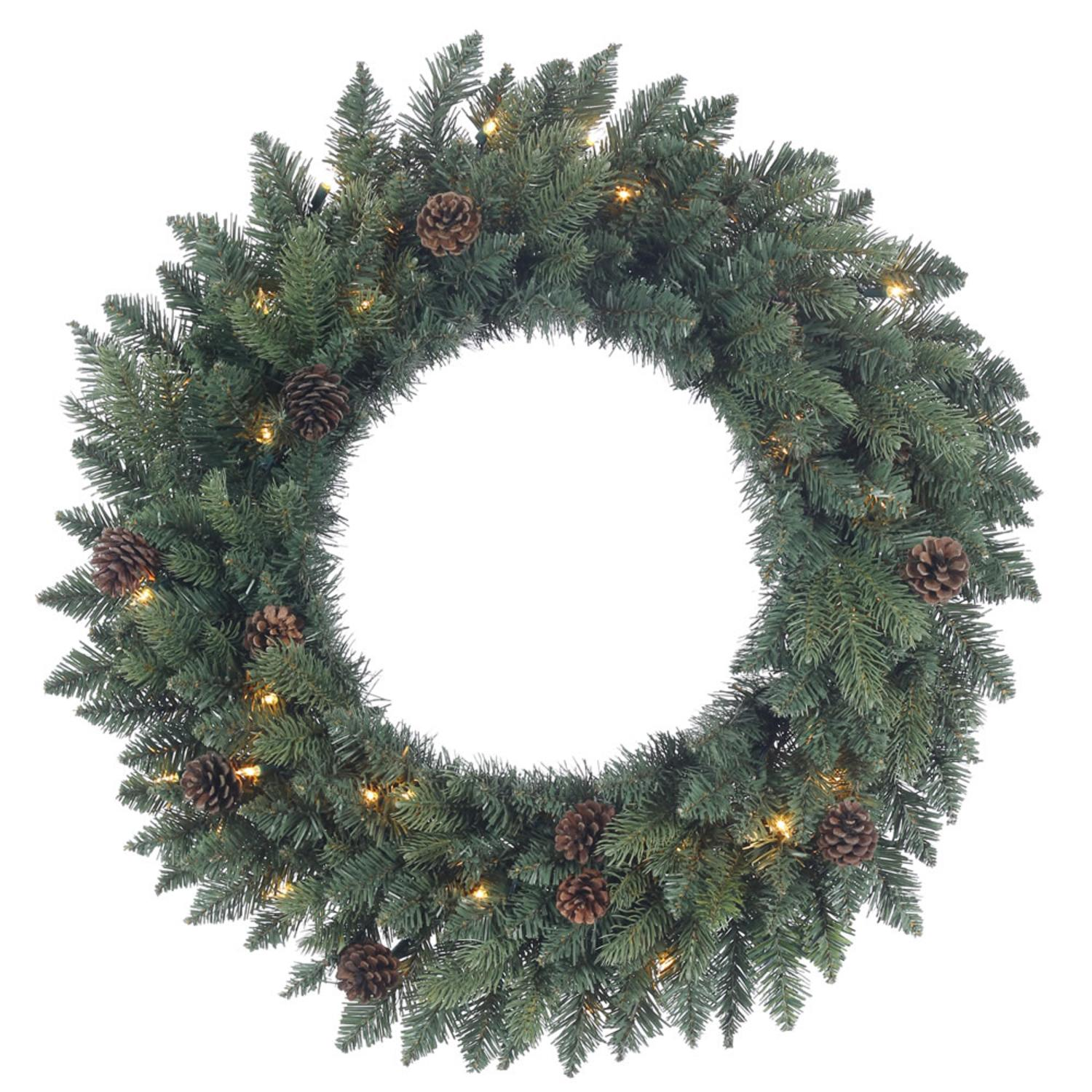 "30"" Pre-Lit Aberdeen Spruce and Pine Cone Artificial Christmas Wreath - Clear Lights"