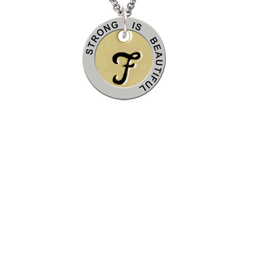 Large Gold Tone Disc Letter - F - 3/4'' Strong Is Beautiful Affirmation Ring Necklace