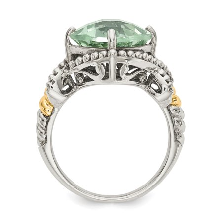 Sterling Silver Two Tone Silver And Gold Plated Sterling Silver w/14ky Green Quartz Cushion Ring - image 2 de 3