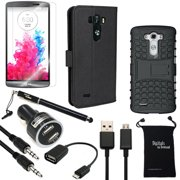 LG G3 Case, DigitalsOnDemand ® 9-Item Accessory Bundle for LG G3 - Black Leather Case, Rugged Case, Screen Protector, Stylus, USB Cable, Dual Car Charger, Micro 2.0 USB OTG, Auxiliary, Travel Bag