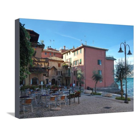 Cafe and Stores on Waterfront, Lake Garda, Malcesine, Italy Stretched Canvas Print Wall Art By Lisa S. (Waterfront Stores)
