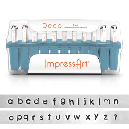 - ImpressArt Metal Punch Stamp Set, Lowercase Alphabet, Deco Font 6mm, 33 Piece Set, Steel