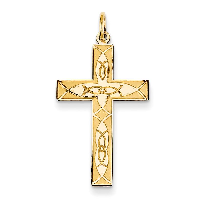 14K Laser Designed Cross Pendant XR1181 by Core Gold