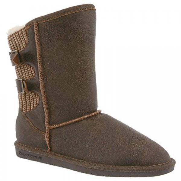 BEARPAW Women's Boshie Winter Boot, Chestnut/Distressed, 9 M US