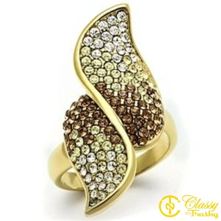 Classy Not Trashy® Women's Gold Colored Lust Crystal Cocktail Ring, Multicolor - Size 6