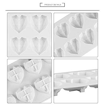 Chocolate 8-CUP Candy Making Cupcake Baking SunTrade 8 Cup Diamond Chocolate Silicone Dessert Mould,Heart Shape for Cake Decorating Toppers,DIY Soap Candle