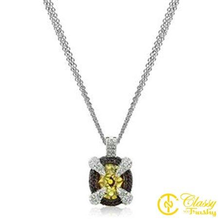 Classy Not Trashy® 18 Inch Cubic Zirconia Jeweled Circular Charm Multi-Chain (Brass Circular Charm)
