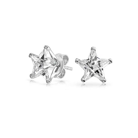 Celestial USA Patriotic Rock Star Cubic Zirconia CZ Stud Earrings For Women For Men 925 Sterling Silver - Patriotic Earrings