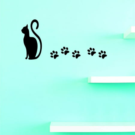 Paw Print Decals (Custom Decals Cat Paw Print Wall Art Size: 10 X 20 Inches Color:)