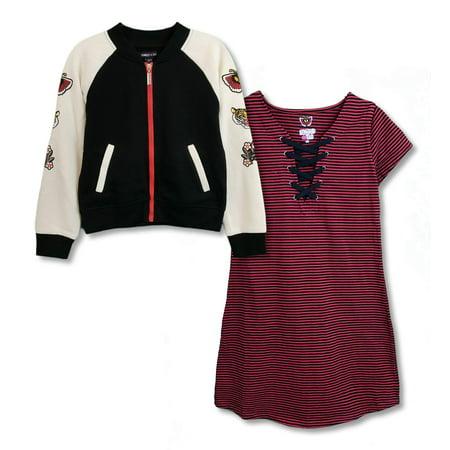 Fleece Bomber Jacket With Striped Mini Dress, 2-Piece Outfit Set (Big Girls)