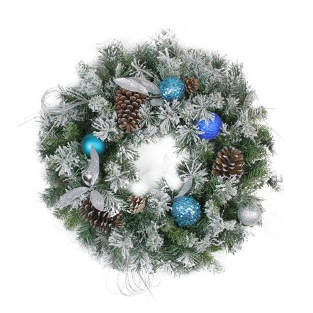 Silver Christmas Wreath.24 Teal And Silver Ball Flocked With Pine Cones Artificial Christmas Wreath Unlit