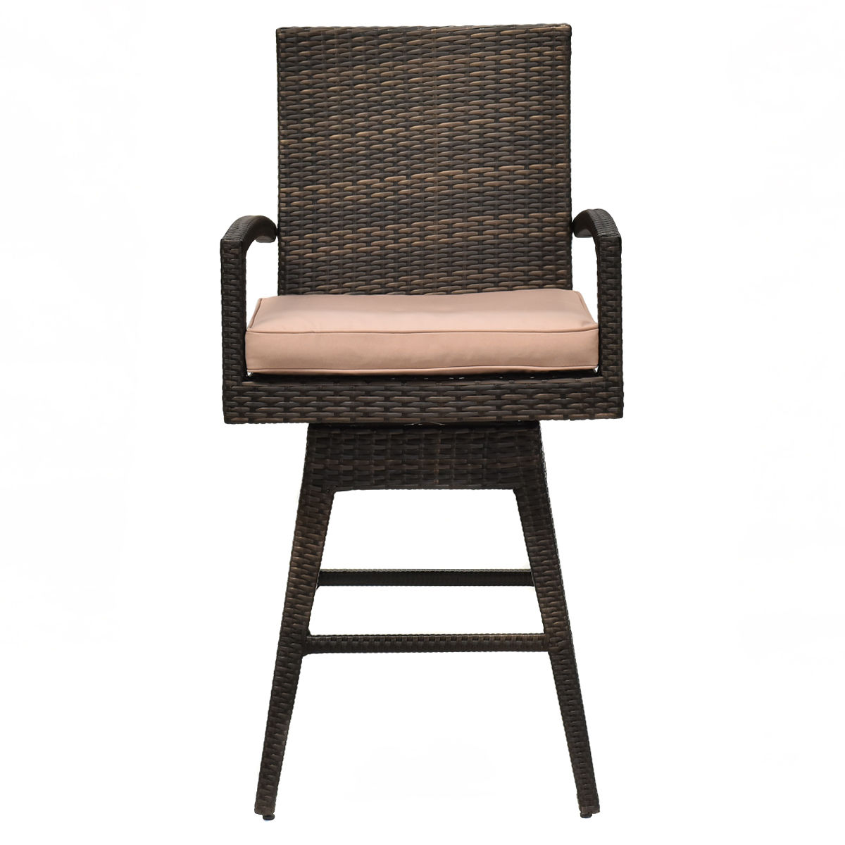 GHP 260Lbs Capacity Outdoor Rattan Wicker Swivel Bar Stool Chair with Cushioned Seat