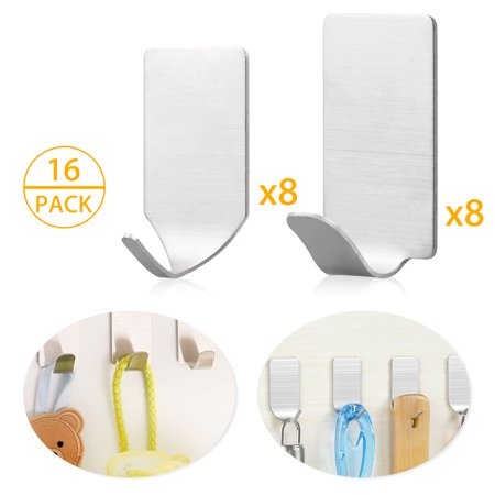 adhesive hooks 16 pack heavy duty wall hooks stainless steel ultra strong waterproof hanger for. Black Bedroom Furniture Sets. Home Design Ideas
