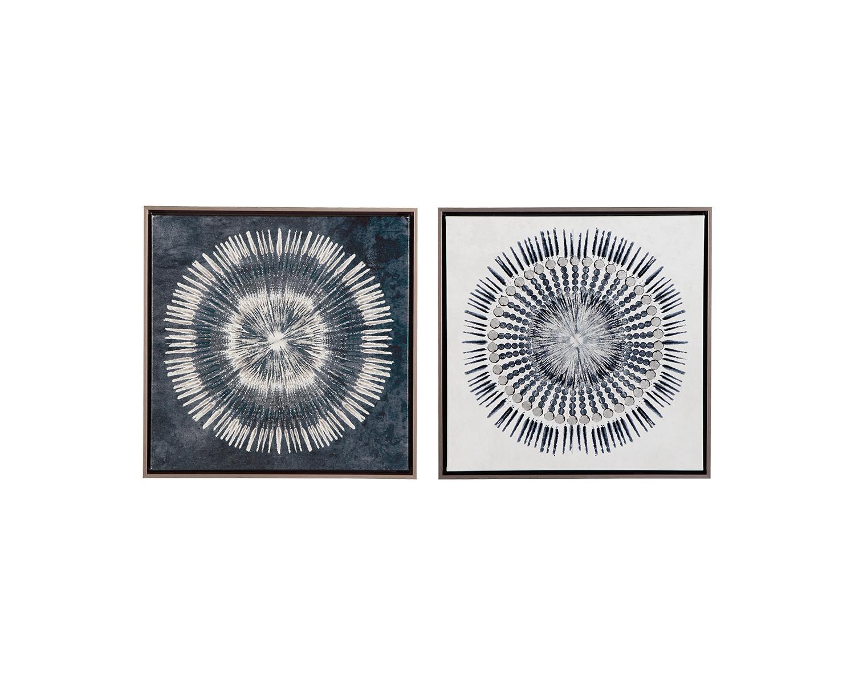 Osez L Art De La Table signature designashley monterey abstract blue/white framed wall art -  set of 2 - walmart