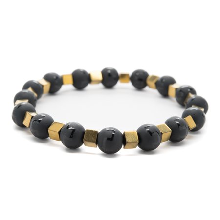 Wrist Beads Semiprecious Stone Bracelet - Real Onyx andGold Color Hematite Gemstones - for Chakra Healing and Balancing, fits Men and Women 7 inch - Adds Boho Charm to Any Outfit, by Orti Jewelry