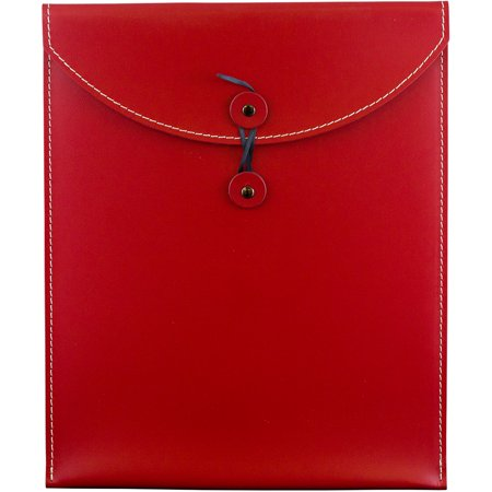 - JAM Paper 9 1/2 x 12 1/2 Leather Portfolio Envelope with Button & String, Red, Sold Individually