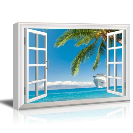 wall26 - Canvas Wall Art - Window Peering into an Ocean with a Beach and a Cruise Ship - Giclee Print Gallery Wrap Modern Home Decor Ready to Hang - 32x48 inches (Cruise Ship Decor)