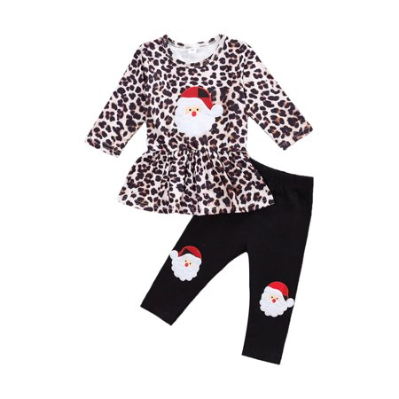 Xingqing Christmas Infant Baby Girl Clothes Leopard Dress Tops+Santa Pants Outfits Black 18-24 Months