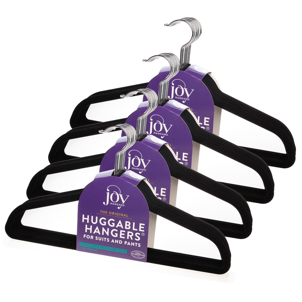 Joy Mangano (40 Count) Huggable Hangers Felt Black Velvet Hangers Space Saving Coat Hanger Non Slip