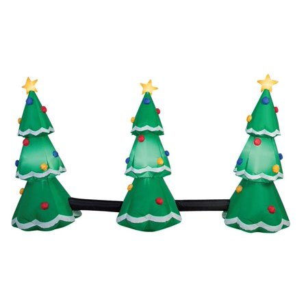 Gemmy 39498 3-Tree Light Show Christmas Inflatable, Fabric, Multicolored - Inflatable Christmas Tree