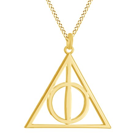 e131e72763957 Harry Potter Deathly Hallow Symbol Pendant Necklace In 14K Gold Over  Sterling Silver