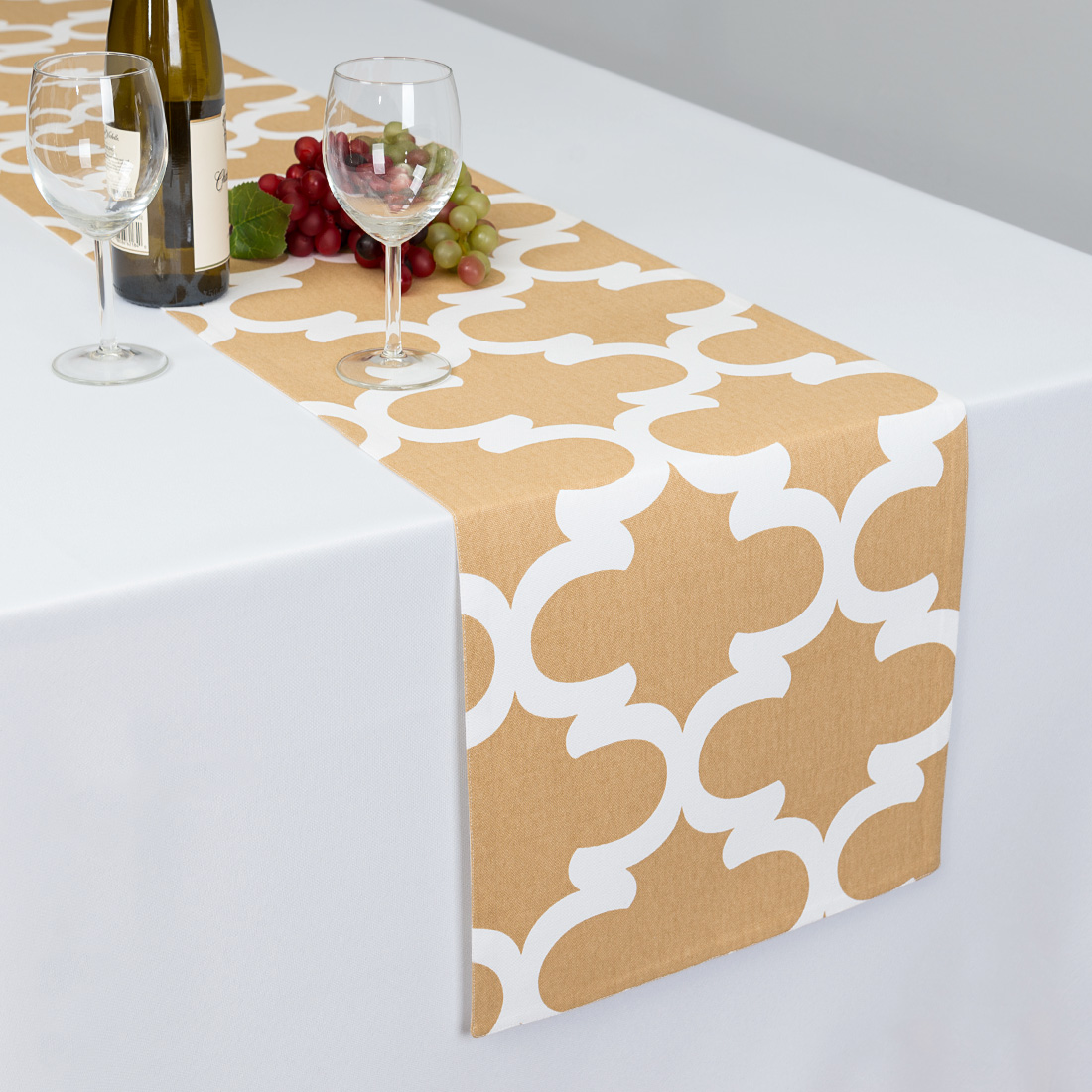 13 x 90 in. Latte & White Trellis Table Runner by