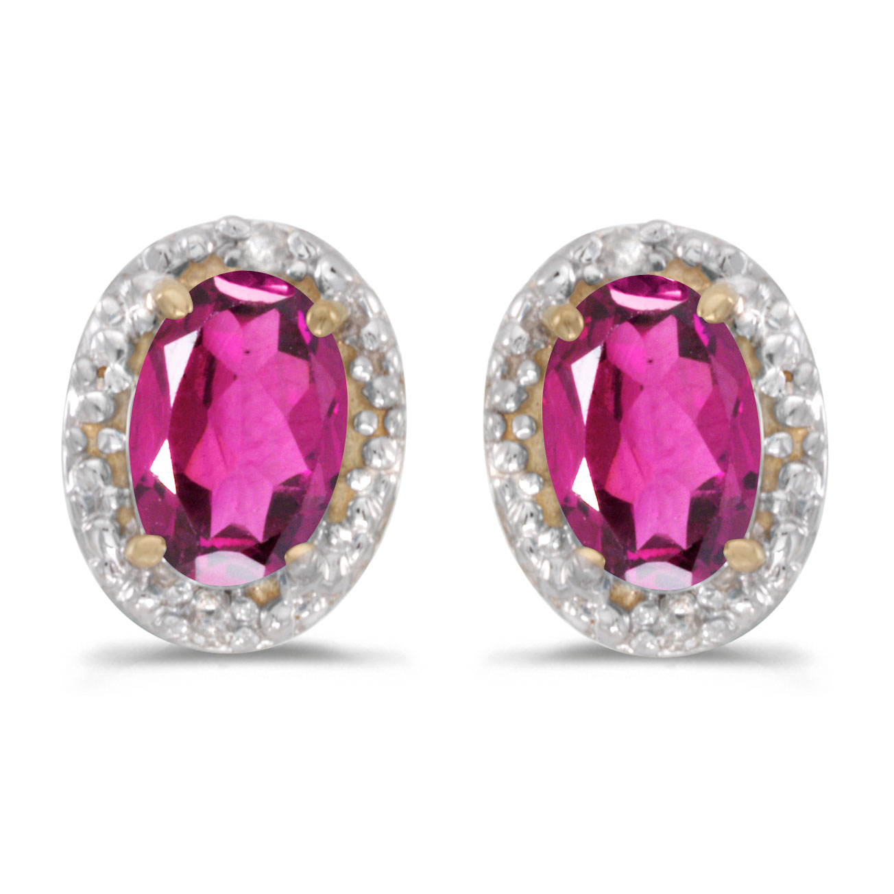 10k Yellow Gold Oval Pink Topaz And Diamond Earrings by